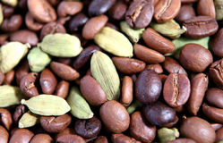 Coffee beans and cardamon pods Royalty Free Stock Image