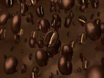 Coffee beans cascade. Very high resolution 3d rendering of a coffee beans cascade Stock Photography