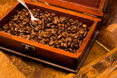Coffee. Beans in the  casket Royalty Free Stock Photography