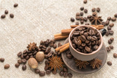Coffee beans in the ceramic cup. And flavouring scattered on sackcloth Royalty Free Stock Photo