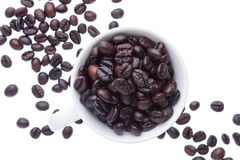 Coffee beans in ceramic cup isolated in white background Royalty Free Stock Photo