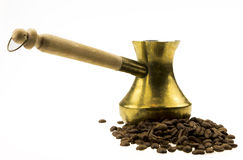 Coffee beans and cezve Stock Photo