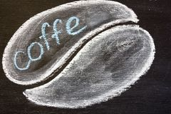 The coffee beans are chalked Stock Image