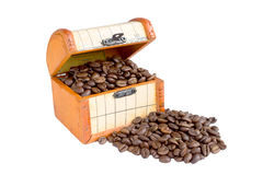 Coffee beans. In chest on white close up Stock Images