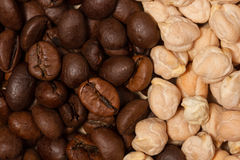 Coffee beans and chickpeas Macro. Met white and dark, day and night , coffee and chickpeas Royalty Free Stock Photo