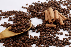 Coffee beans and choc sticks Royalty Free Stock Photo