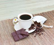 Coffee beans and choclate Stock Image