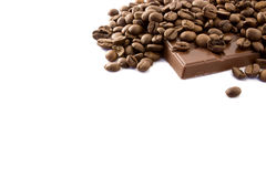 Coffee beans and chocolate Royalty Free Stock Photos