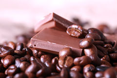 Coffee beans and chocolate Royalty Free Stock Image