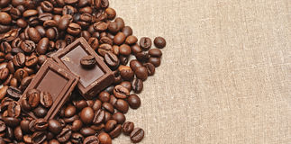 Coffee beans and chocolate Stock Image