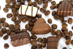 Coffee beans and chocolate Stock Images
