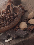 Coffee beans, chocolate and almonds Royalty Free Stock Images