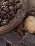 Coffee beans, chocolate and almonds Stock Photography