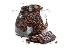 Coffee beans and chocolate bar Royalty Free Stock Photography