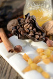 Coffee beans in a chocolate basket Stock Images