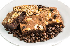 Coffee beans and chocolate cake Royalty Free Stock Photos
