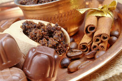 Coffee beans, chocolate candy Stock Photo