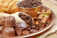 Coffee beans, chocolate candy Stock Images