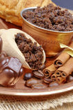 Coffee beans, chocolate candy Stock Image