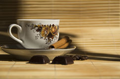 Coffee beans,chocolate and Cinnamon with coffee ca Royalty Free Stock Photos