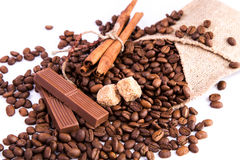 Coffee beans with chocolate and cinnamon Royalty Free Stock Photography