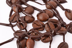 Coffee beans and chocolate. Closeup Royalty Free Stock Photo