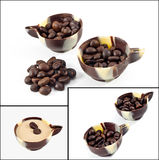 Coffee beans in a chocolate cup Stock Photography