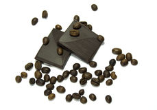 Coffee beans with chocolate Royalty Free Stock Image