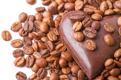 Coffee beans  and  chocolate heart Stock Images