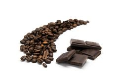 Coffee beans with chocolate Royalty Free Stock Photos