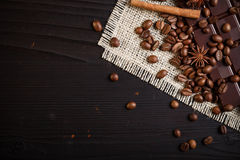 Coffee beans and chocolate Royalty Free Stock Images