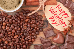 Coffee beans and chocolates. Royalty Free Stock Photo
