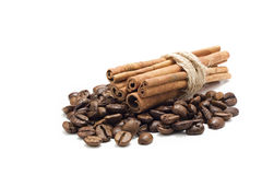 Coffee beans and cinnamon. Isolated with white Stock Image
