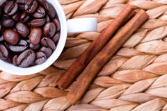 Coffee beans and cinnamon Stock Photo