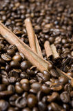 Coffee beans with cinnamon Royalty Free Stock Photos