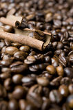 Coffee beans with cinnamon Stock Image