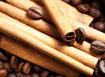 Coffee beans and cinnamon Royalty Free Stock Photo