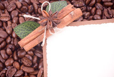Coffee beans and cinnamon Stock Photography