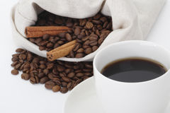 Coffee, beans and cinnamon. Coffee and beans and cinnamon from bag Stock Photography