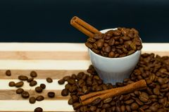 Coffee beans and cinnamon. Stock Photo