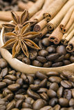 Coffee beans, cinnamon and anise. Close up of coffee beans, cinnamon and anise Stock Photography