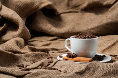 Coffee beans, cinnamon and aniseed in coffee cup. Royalty Free Stock Photos