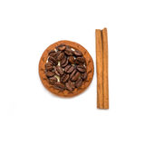 Coffee beans cinnamon cookie white cup and saucer Stock Image