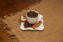 Coffee beans cinnamon cookie white cup and saucer Stock Images