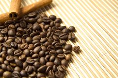 Coffee beans and Cinnamon .copy space Royalty Free Stock Photo