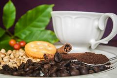 Coffee beans, cinnamon and cracker. Royalty Free Stock Photo