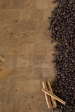 Coffee beans and cinnamon Royalty Free Stock Photos