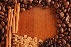 Coffee beans, cinnamon etc. Stock Image