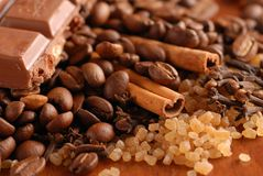 Coffee beans, cinnamon, etc. Royalty Free Stock Images