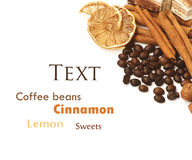 Coffee beans, cinnamon, lemon and sweets. Over white with a space for Your text Stock Photography
